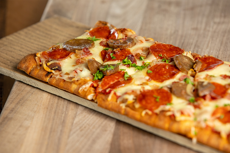 Meat Lovers Flatbread Pizza in Rosie's Kitchen