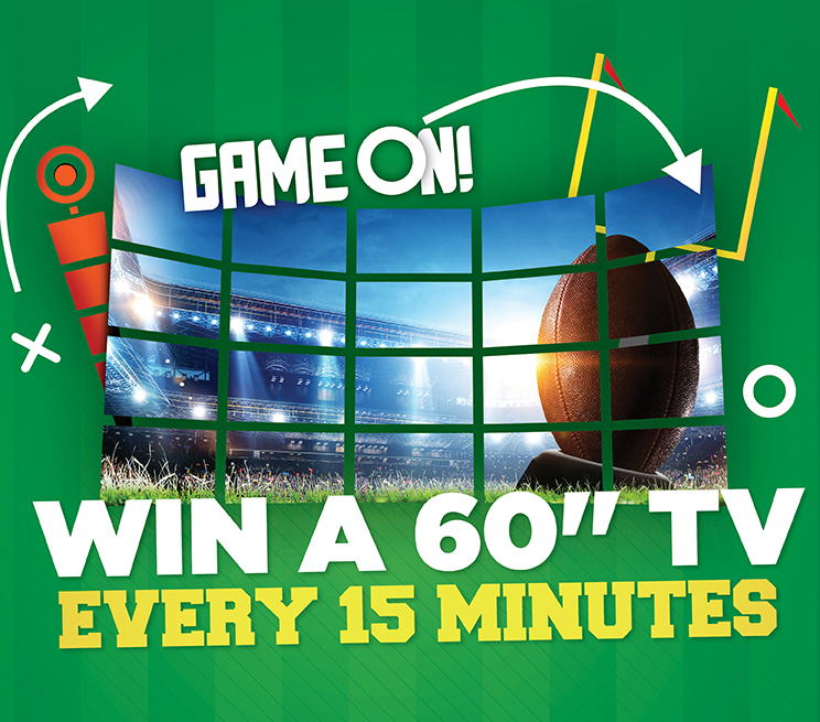 """Win A 60"""" TV Every 15 Minutes"""